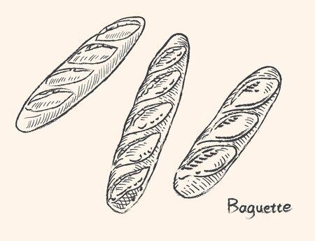 Vector illustration of baguette. Black line sketch.