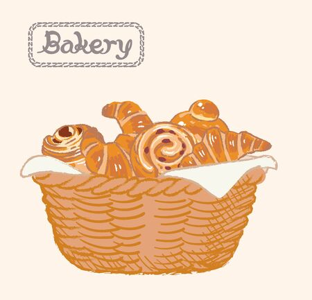 Sketch of inviting bread and buns in a basket. Vector illustration. Illustration