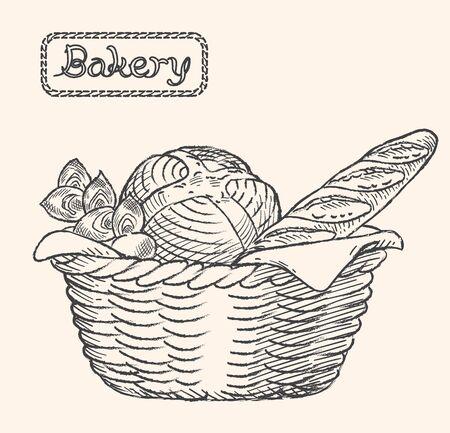 Sketch of inviting bread in a basket. Vector illustration. Illustration
