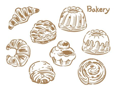 Many varieties of inviting bread. Isolated on white. Vector illustration. Illustration