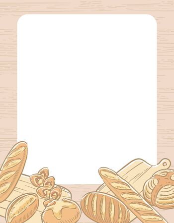 Many varieties of inviting bread with wooden style background. Vector illustration.