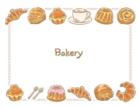 Many varieties of inviting bread. Vector illustration. Illustration