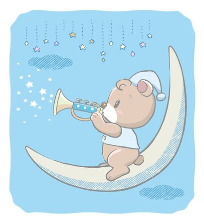 Cute baby bear blowing a toy trumpet. Vector illustration for Baby shower card, ad, baby wear design or other use.