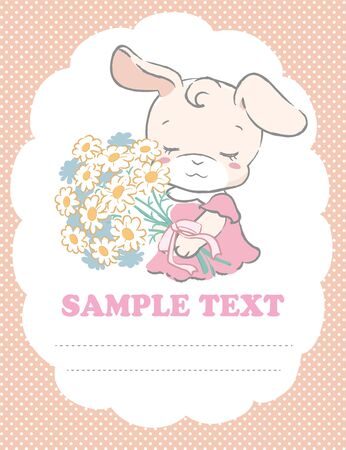 Cute rabbit holding a bouquet. Vector illustration for invitation card, birthday card, baby wear design or other use.