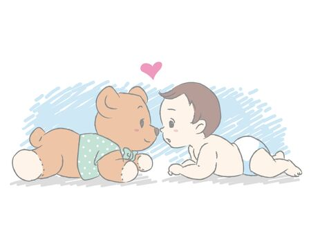 Cute newborn baby.  Vector illustration for Baby shower card or blog or other use. 일러스트