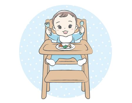Baby eating baby food. Vector illustration.