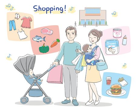 Young parents visit shopping mall with their babies. Vector illustration.