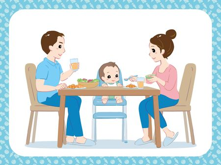 Young parents, mom and dad and their baby eating together. Vector illustration.