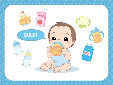 Cute baby drinking water, juice or something. And related items. Vector illustration.