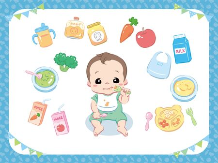 Baby eating food. Character and puree, juice, related items. Vector illustration.