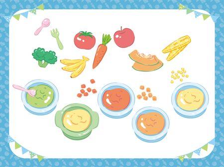 Baby food. Puree, fruits and vegetables. Vector illustration. Archivio Fotografico - 150500811