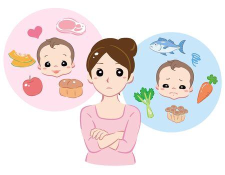 Mother thinking about her baby's food. Vector illustration. Vektoros illusztráció
