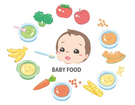 Foods for baby. Vector illustration.