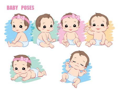Cute baby, Infant girl. Poses set. Vector illustration.