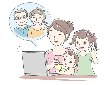 Young mother using video call with her children. Distant call. Vector illustration.