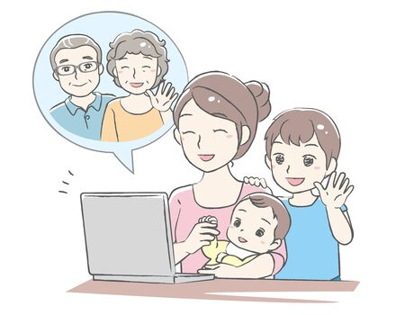 Young mother have a video call chat with her children. Distant call. Vector illustration.