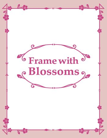 Ornamental frame with cherry blossoms. Vector illustration. Vector Illustratie