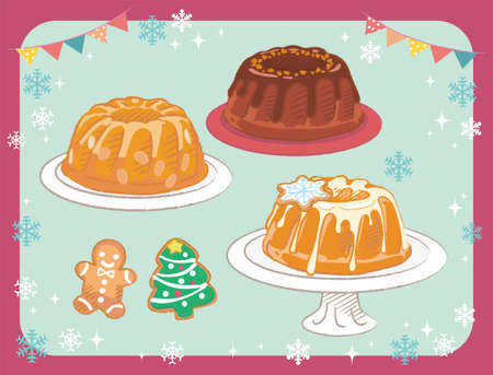 Bundt cakes and decorated cookies. Christmas pastry set. Vector illustration.