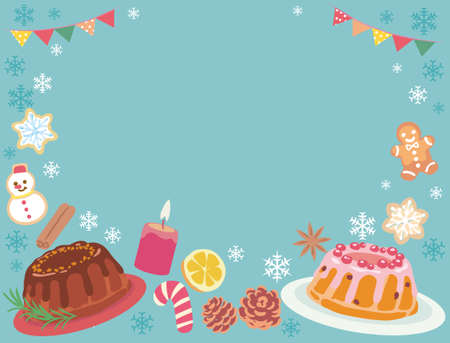 Background with Christmas pastry. Vector illustration. Ilustrace