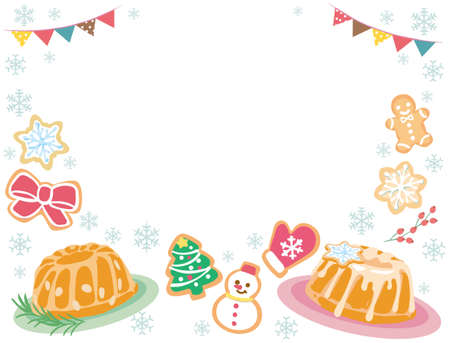 Background with Christmas pastry. Vector illustration. Stock Illustratie