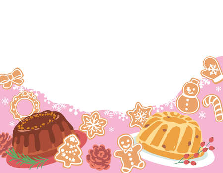 Christmas themed background with blank space. Vector illustration of decorating Christmas cookies and bundt cakes.