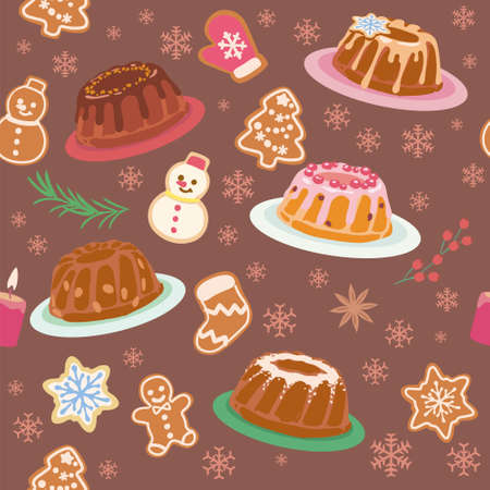 Seamless background with Christmas pastry. Vector pattern.