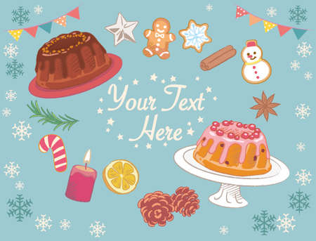 Christmas bundt cakes and decorated cookies. Vector illustration for menu, poster or other use.