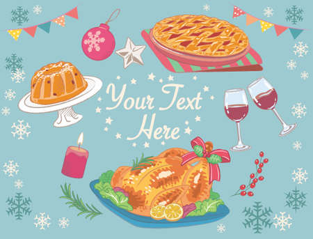 Wintertime and Christmas foods, roast turkey, fruit pie, bundt cake. Vector illustration for menu, poster or other use.