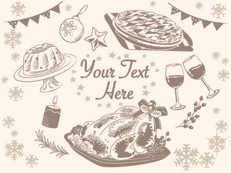Wintertime and Christmas foods, roast turkey, fruit pie, bundt cake. Vintage style. Vector illustration for menu, poster or other use.
