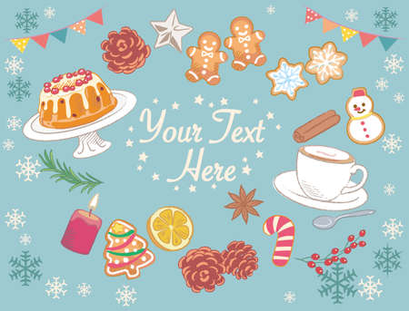 Wintertime and Christmas pastries, cookies, fruit bundt cake and hot coffee.. Vector illustration for menu, poster or other use.