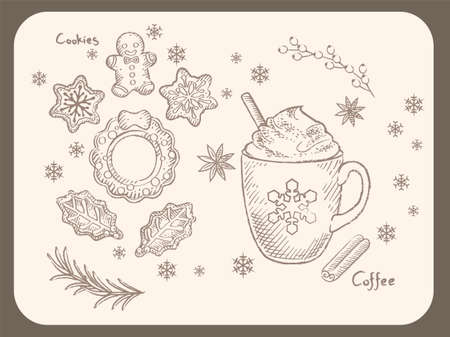 Wintertime and Christmas cookies and hot coffee. Vintage style vector illustration for menu, poster or other use.