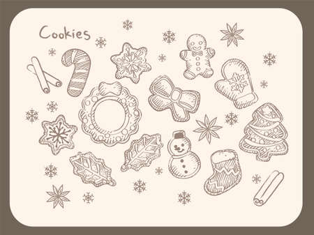 Wintertime and Christmas themed cookies with icing. Vintage style vector illustration for menu, poster or other use.