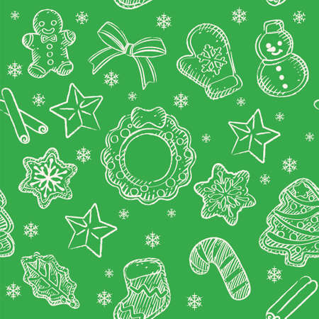 Seamless background with Christmas coffee time themed items. Vector pattern. Çizim