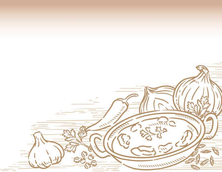 Vegetables, Indian spices for chicken curry. Vector illustration.