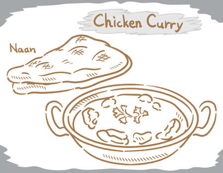 Chicken curry with Naan isolated on white. Vector illustration.