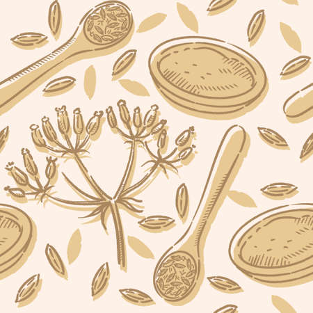 Seamless pattern with cumin seeds and plant isolated on white. Vector illustration.
