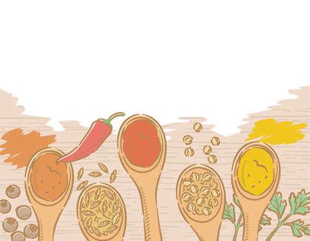 Spices on spoons for curry. Allspice, chili, coriander, cumin, turmeric, garam masala. Vector illustration.