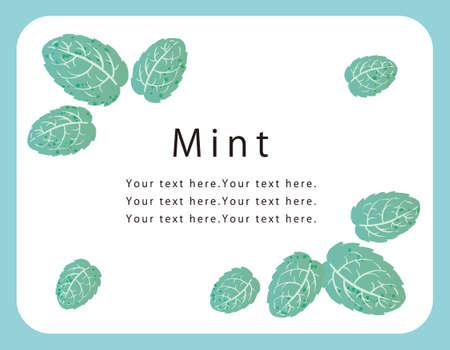 Mint leaves frame composition. Vector illustration.