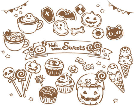 Set of cute Halloween sweets. Vector illustration.