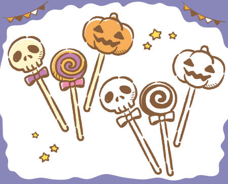 Cute cake pops for Halloween. Vector illustration. Çizim