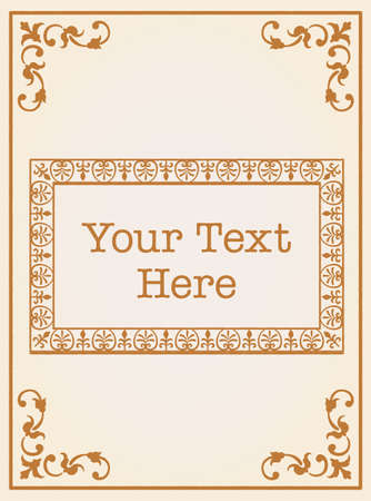 Decorative vintage frame and elements in antique rococo style. Vector illustration.