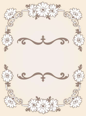 Decorative elegant frame with gerbera flowers in antique and vintage style. Vector illustration.
