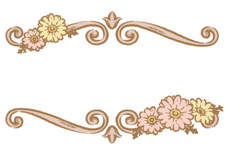 Decorative floral frame with gerbera flowers in vintage style isolated on white background. Vector illustration.