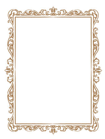 Decorative vintage frame in antique style. Vector illustration.