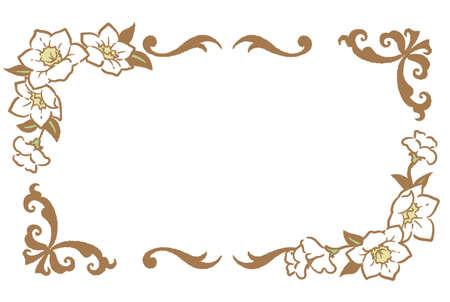 Decorative vintage frame with flowers in antique style. Vector illustration. Illustration