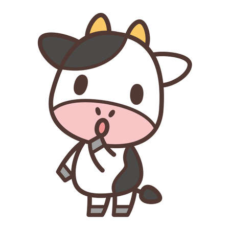 Cow character watching and listening