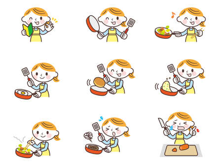 Woman cooking in a pot Ilustracja
