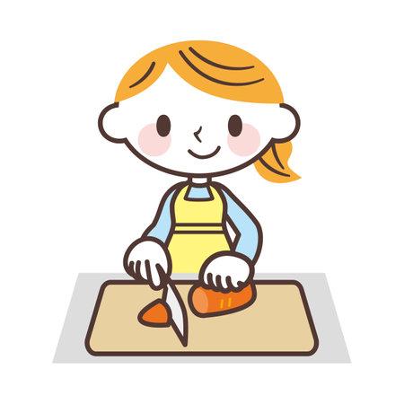 Woman cutting carrots Ilustracja