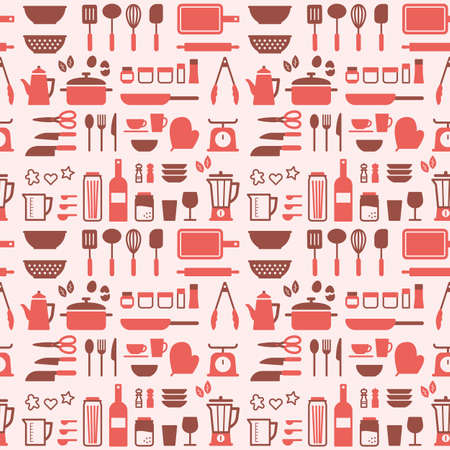 Kitchen tools seamless pattern vector art