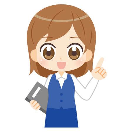 Anime illustration of female office worker